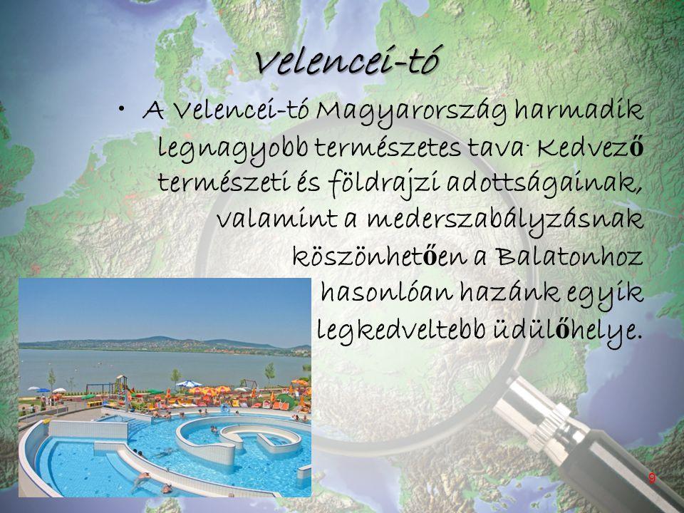 Velencei-tó A Velencei-tó Magyarország harmadik legnagyobb természetes tava. Kedvez ő természeti és földrajzi adottságainak, valamint a mederszabályzá