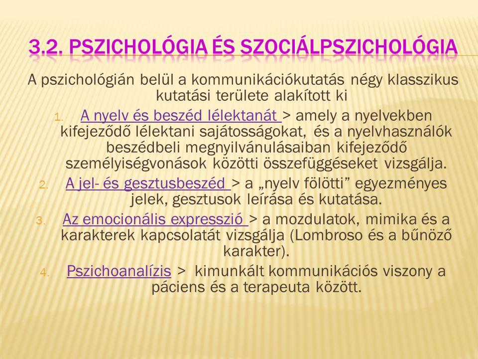 A pszichológián belül a kommunikációkutatás négy klasszikus kutatási területe alakított ki 1. A nyelv és beszéd lélektanát > amely a nyelvekben kifeje