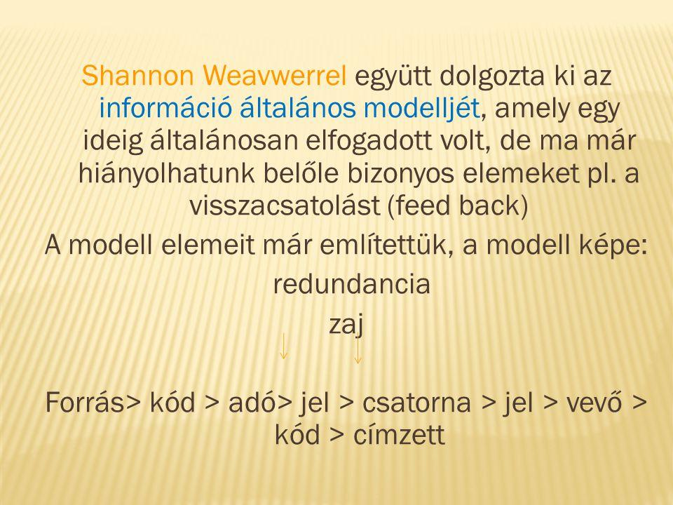 Shannon Weavwerrel együtt dolgozta ki az információ általános modelljét, amely egy ideig általánosan elfogadott volt, de ma már hiányolhatunk belőle b