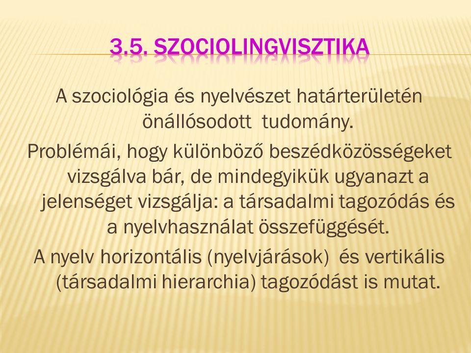 A szociológia és nyelvészet határterületén önállósodott tudomány. Problémái, hogy különböző beszédközösségeket vizsgálva bár, de mindegyikük ugyanazt