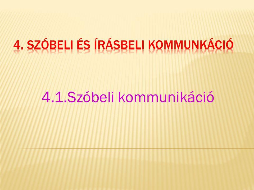 4.1.Szóbeli kommunikáció