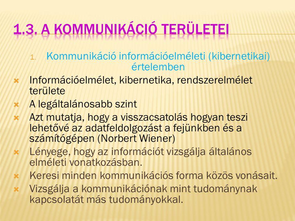 1. Kommunikáció információelméleti (kibernetikai) értelemben  Információelmélet, kibernetika, rendszerelmélet területe  A legáltalánosabb szint  Az