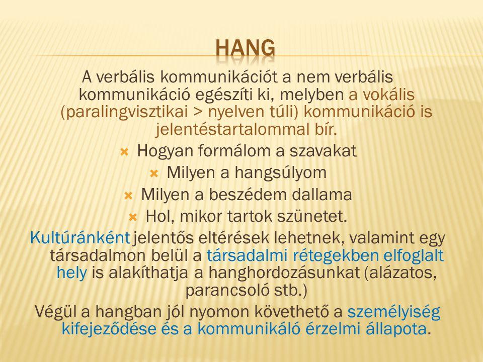 A verbális kommunikációt a nem verbális kommunikáció egészíti ki, melyben a vokális (paralingvisztikai > nyelven túli) kommunikáció is jelentéstartalo
