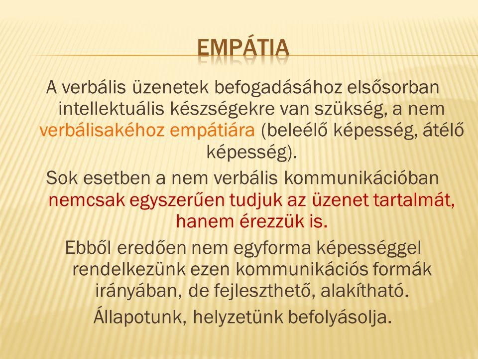 A verbális üzenetek befogadásához elsősorban intellektuális készségekre van szükség, a nem verbálisakéhoz empátiára (beleélő képesség, átélő képesség)