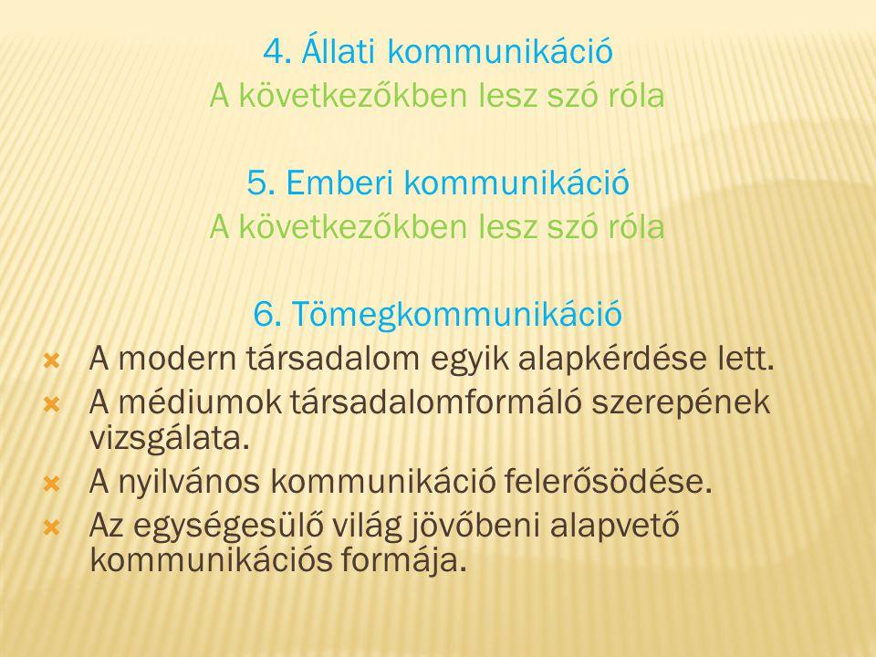 4. Állati kommunikáció A következőkben lesz szó róla 5. Emberi kommunikáció A következőkben lesz szó róla 6. Tömegkommunikáció  A modern társadalom e