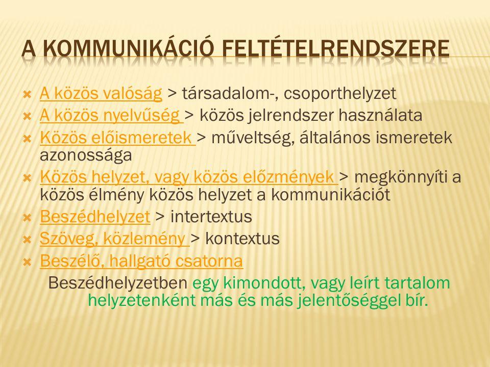  A közös valóság > társadalom-, csoporthelyzet  A közös nyelvűség > közös jelrendszer használata  Közös előismeretek > műveltség, általános ismeret