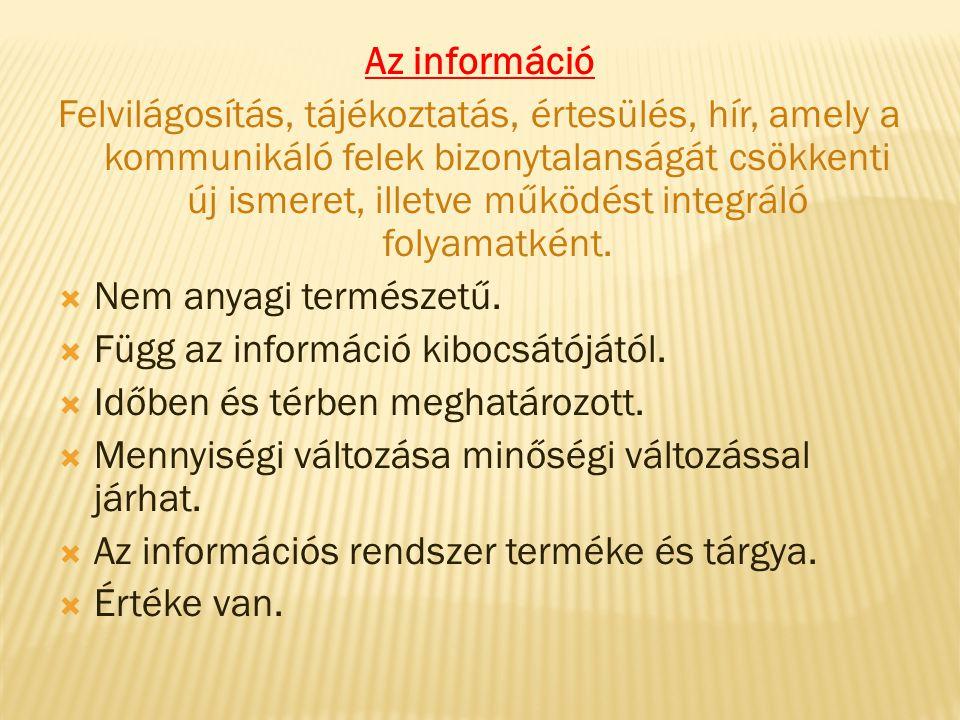 Az információ Felvilágosítás, tájékoztatás, értesülés, hír, amely a kommunikáló felek bizonytalanságát csökkenti új ismeret, illetve működést integrál