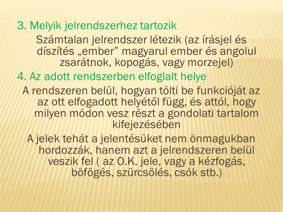 """3. Melyik jelrendszerhez tartozik Számtalan jelrendszer létezik (az írásjel és díszítés """"ember"""" magyarul ember és angolul zsarátnok, kopogás, vagy mor"""