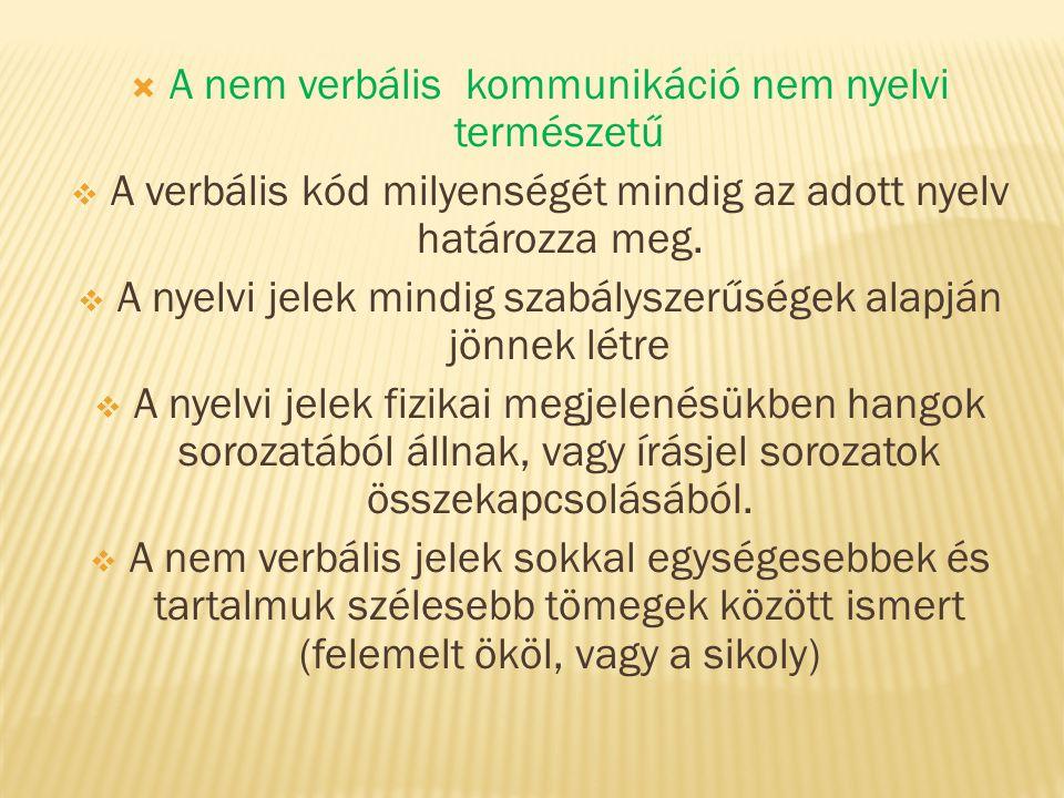  A nem verbális kommunikáció nem nyelvi természetű  A verbális kód milyenségét mindig az adott nyelv határozza meg.  A nyelvi jelek mindig szabálys
