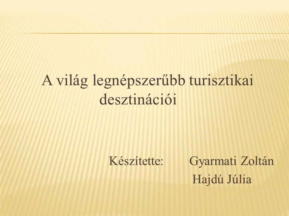 A világ legnépszerűbb turisztikai desztinációi Készítette: Gyarmati Zoltán Hajdú Júlia