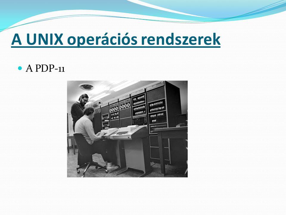 A UNIX rendszerek legfontosabb jellemzői Néhány gyártó operációs rendszere (Apple - MacOSX, Sun Microsystems - Solaris) Szabad operációs rendszerek (FreeBSD, NetBSD, Linux) Néhány eltűnt rendszer (Amiga – Commodore, Xenix - Microsoft) A UNIX operációs rendszerek