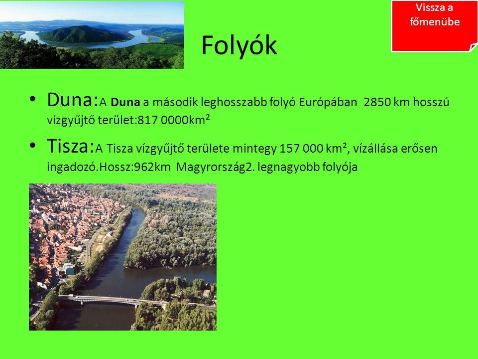 Folyók Duna: A Duna a második leghosszabb folyó Európában 2850 km hosszú vízgyűjtő terület:817 0000km² Tisza: A Tisza vízgyűjtő területe mintegy 157 0