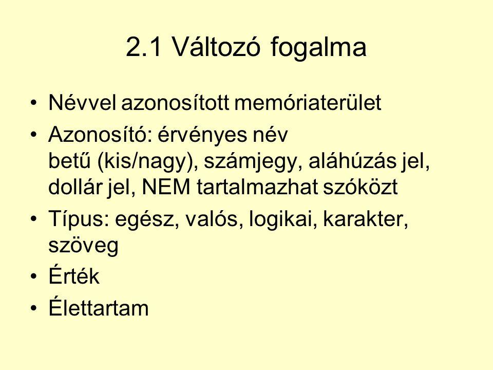 2.1 Változó fogalma Névvel azonosított memóriaterület Azonosító: érvényes név betű (kis/nagy), számjegy, aláhúzás jel, dollár jel, NEM tartalmazhat sz