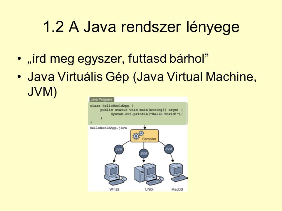 1.3 A Java nyelv alapfogalmai Objektum: adatokból (állapot) és a rajtuk végezhető műveletekből (viselkedés) felépített egység.