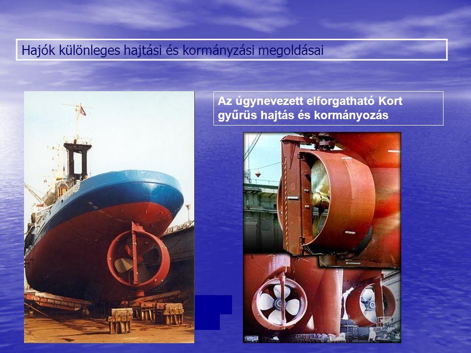 Hajók különleges hajtási és kormányzási megoldásai Az úgynevezett elforgatható Kort gyűrüs hajtás és kormányozás