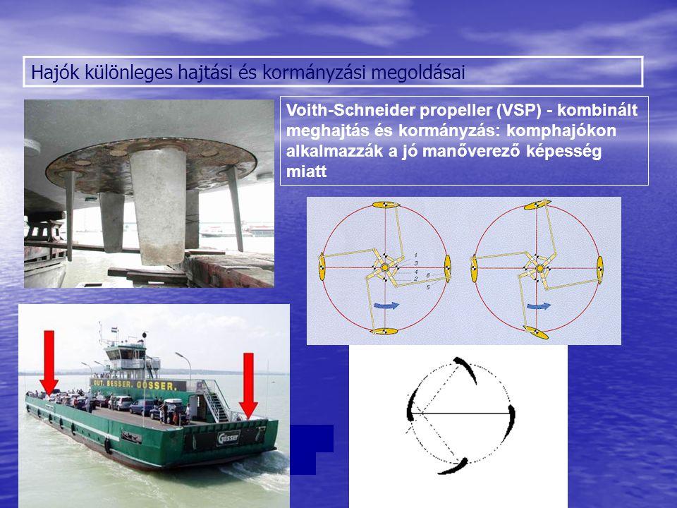 Hajók különleges hajtási és kormányzási megoldásai Voith-Schneider propeller (VSP) - kombinált meghajtás és kormányzás: komphajókon alkalmazzák a jó m