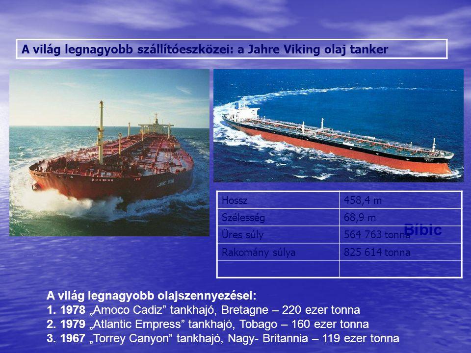 """A világ legnagyobb szállítóeszközei: a Jahre Viking olaj tanker Sólyom Vöcsök Bíbic A világ legnagyobb olajszennyezései: 1. 1978 """"Amoco Cadiz"""" tankhaj"""