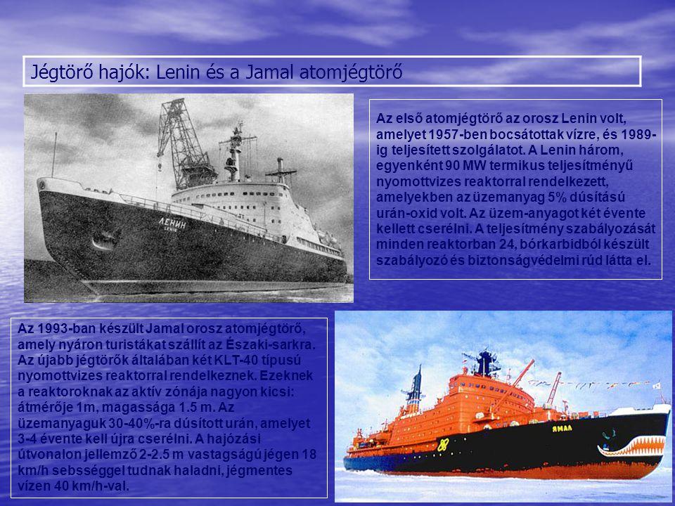 Jégtörő hajók: Lenin és a Jamal atomjégtörő Sólyom Az első atomjégtörő az orosz Lenin volt, amelyet 1957-ben bocsátottak vízre, és 1989- ig teljesítet