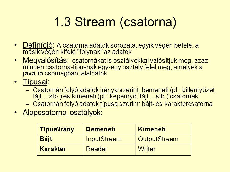 1.3 Stream (csatorna) Definíció: A csatorna adatok sorozata, egyik végén befelé, a másik végén kifelé folynak az adatok.