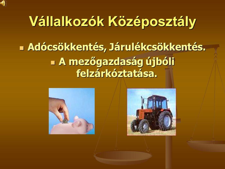 Vállalkozók Középosztály Adócsökkentés, Járulékcsökkentés. Adócsökkentés, Járulékcsökkentés. A mezőgazdaság újbóli felzárkóztatása. A mezőgazdaság újb