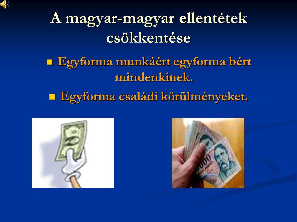 A magyar-magyar ellentétek csökkentése Egyforma munkáért egyforma bért mindenkinek. Egyforma munkáért egyforma bért mindenkinek. Egyforma családi körü