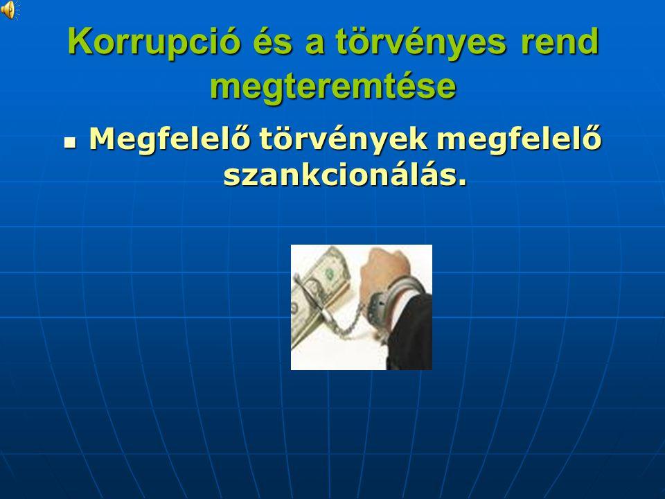 Korrupció és a törvényes rend megteremtése Megfelelő törvények megfelelő szankcionálás.