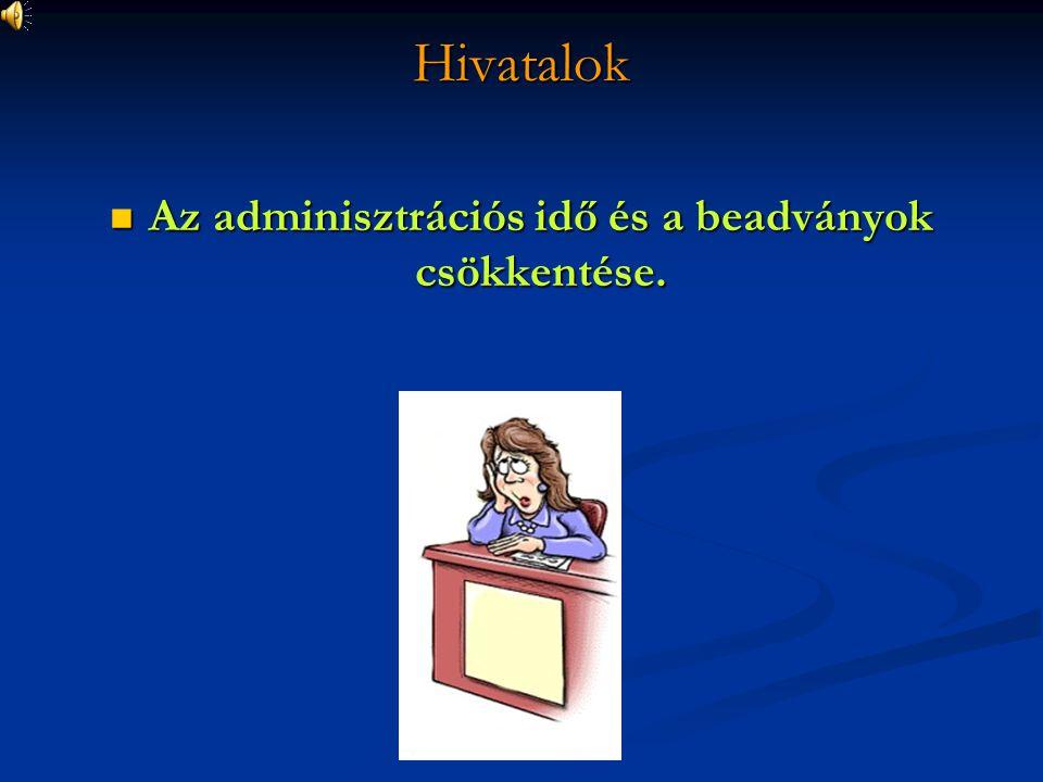 Hivatalok Az adminisztrációs idő és a beadványok csökkentése. Az adminisztrációs idő és a beadványok csökkentése.
