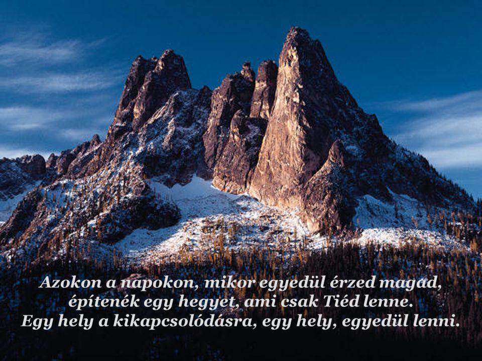 Azokon a napokon, mikor egyedül érzed magad, építenék egy hegyet, ami csak Tiéd lenne. Egy hely a kikapcsolódásra, egy hely, egyedül lenni.