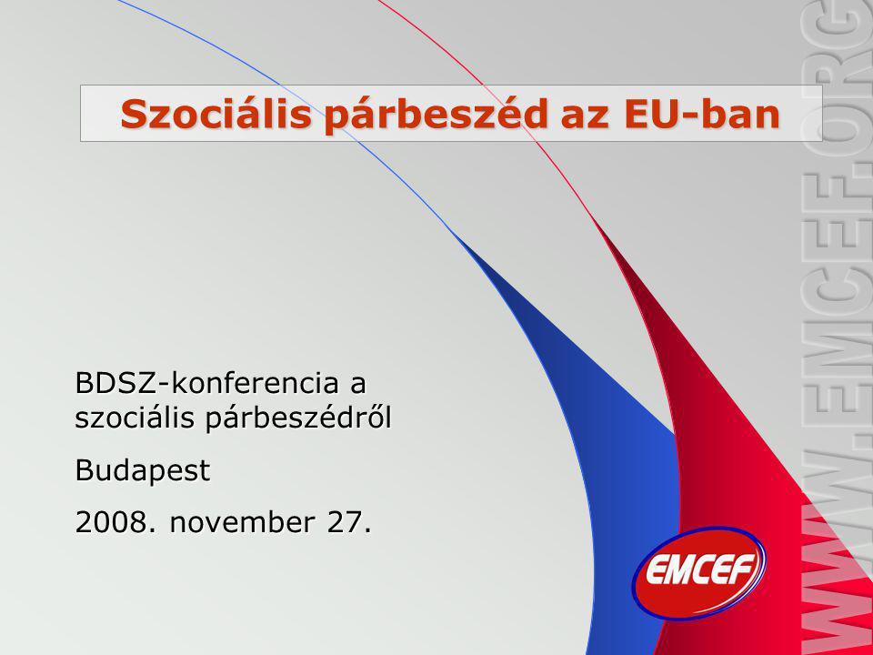 Szociális párbeszéd az EU-ban BDSZ-konferencia a szociális párbeszédről Budapest 2008. november 27.