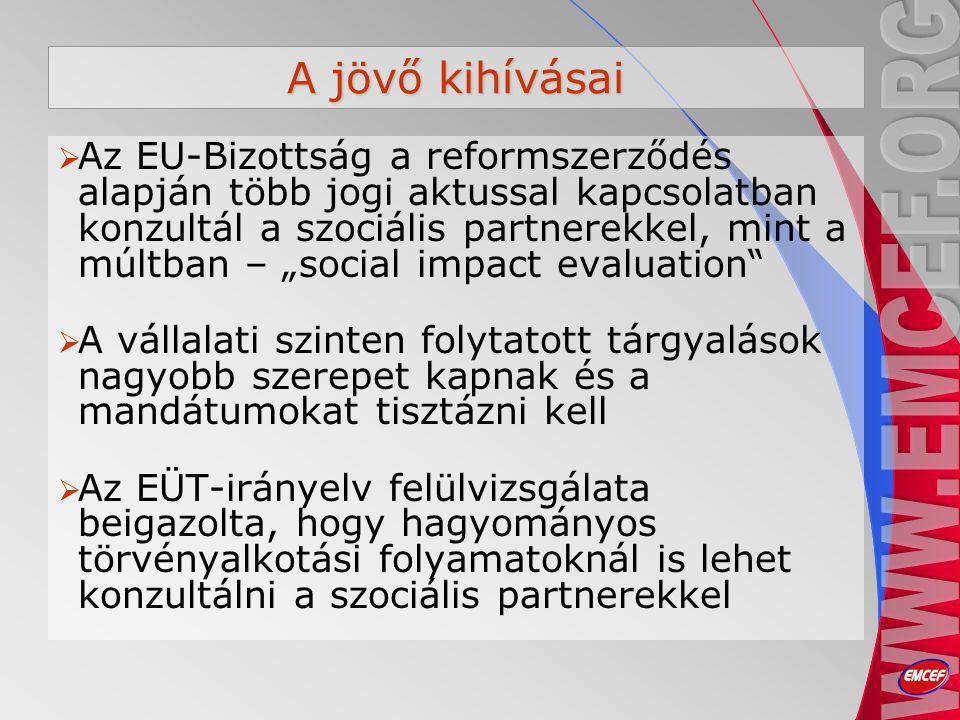 """A jövő kihívásai  Az EU-Bizottság a reformszerződés alapján több jogi aktussal kapcsolatban konzultál a szociális partnerekkel, mint a múltban – """"social impact evaluation  A vállalati szinten folytatott tárgyalások nagyobb szerepet kapnak és a mandátumokat tisztázni kell  Az EÜT-irányelv felülvizsgálata beigazolta, hogy hagyományos törvényalkotási folyamatoknál is lehet konzultálni a szociális partnerekkel"""