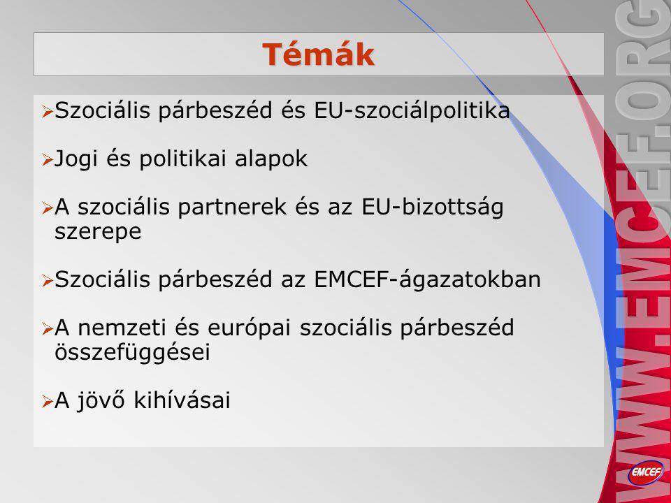 Témák  Szociális párbeszéd és EU-szociálpolitika  Jogi és politikai alapok  A szociális partnerek és az EU-bizottság szerepe  Szociális párbeszéd az EMCEF-ágazatokban  A nemzeti és európai szociális párbeszéd összefüggései  A jövő kihívásai