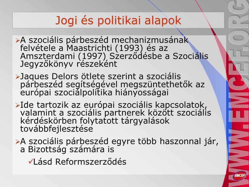 Jogi és politikai alapok  A szociális párbeszéd mechanizmusának felvétele a Maastrichti (1993) és az Amszterdami (1997) Szerződésbe a Szociális Jegyzőkönyv részeként  Jaques Delors ötlete szerint a szociális párbeszéd segítségével megszüntethetők az európai szociálpolitika hiányosságai  Ide tartozik az európai szociális kapcsolatok, valamint a szociális partnerek között szociális kérdéskörben folytatott tárgyalások továbbfejlesztése  A szociális párbeszéd egyre több haszonnal jár, a Bizottság számára is Lásd Reformszerződés