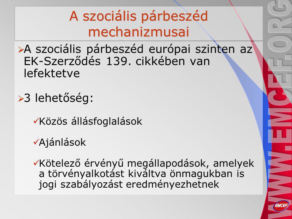 A szociális párbeszéd mechanizmusai  A szociális párbeszéd európai szinten az EK-Szerződés 139.