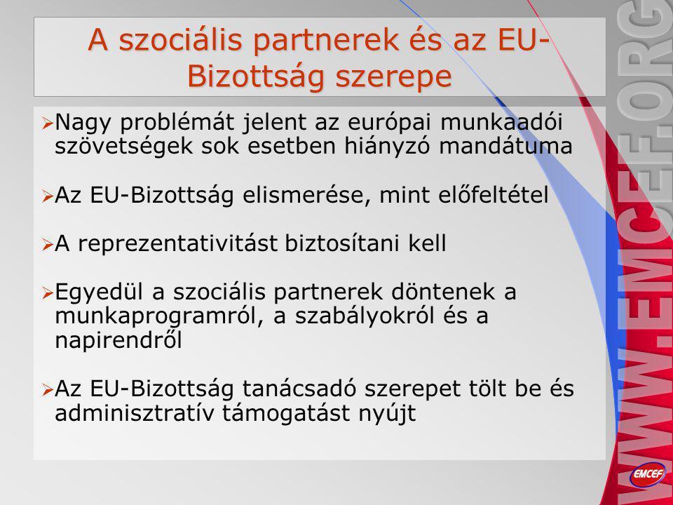 A szociális partnerek és az EU- Bizottság szerepe  Nagy problémát jelent az európai munkaadói szövetségek sok esetben hiányzó mandátuma  Az EU-Bizottság elismerése, mint előfeltétel  A reprezentativitást biztosítani kell  Egyedül a szociális partnerek döntenek a munkaprogramról, a szabályokról és a napirendről  Az EU-Bizottság tanácsadó szerepet tölt be és adminisztratív támogatást nyújt