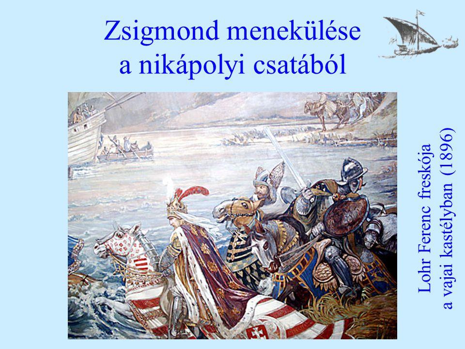 Zsigmond menekülése a nikápolyi csatából Lohr Ferenc freskója a vajai kastélyban (1896)