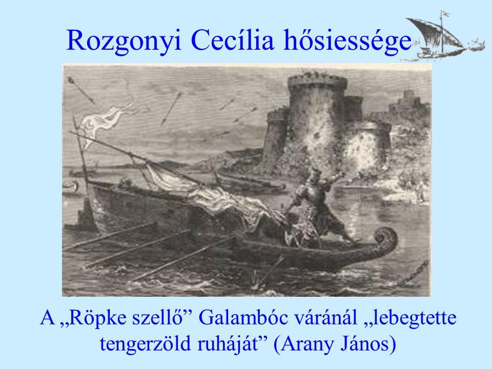 """Rozgonyi Cecília hősiessége A """"Röpke szellő Galambóc váránál """"lebegtette tengerzöld ruháját (Arany János)"""