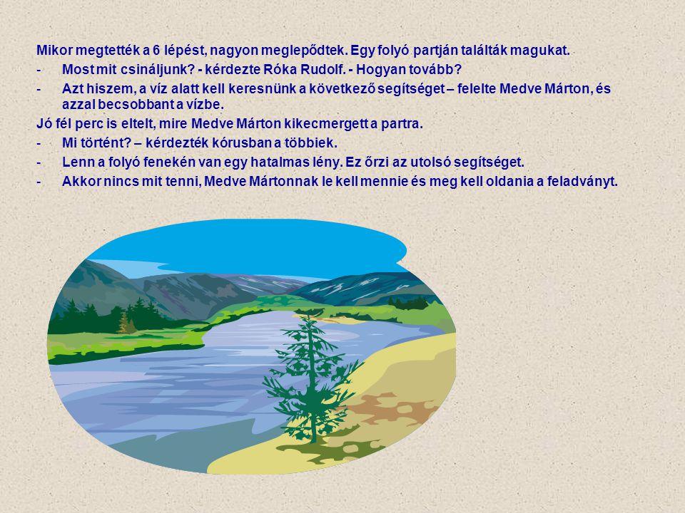 Mikor megtették a 6 lépést, nagyon meglepődtek. Egy folyó partján találták magukat. -Most mit csináljunk? - kérdezte Róka Rudolf. - Hogyan tovább? -Az