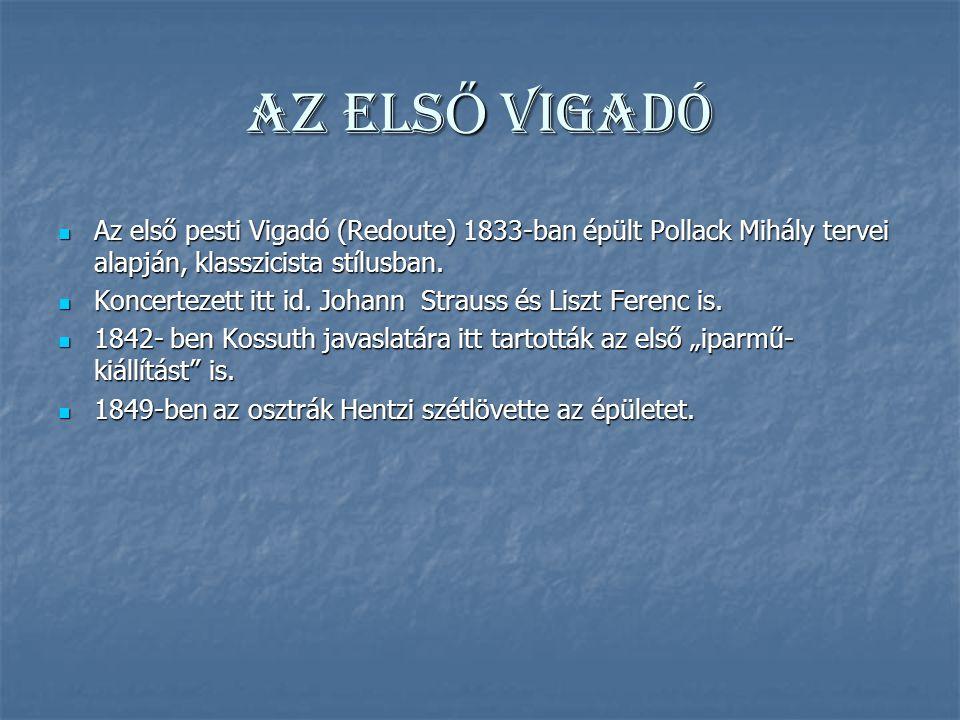 AZ ELS Ő VIGADÓ Az első pesti Vigadó (Redoute) 1833-ban épült Pollack Mihály tervei alapján, klasszicista stílusban.