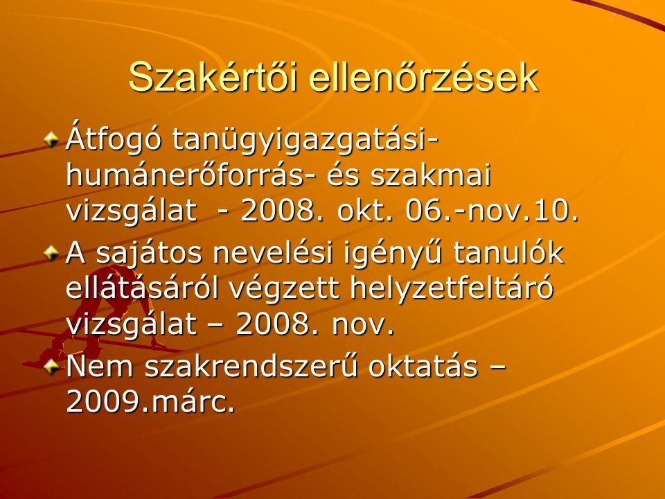 Szakértői ellenőrzések Átfogó tanügyigazgatási- humánerőforrás- és szakmai vizsgálat - 2008. okt. 06.-nov.10. A sajátos nevelési igényű tanulók ellátá
