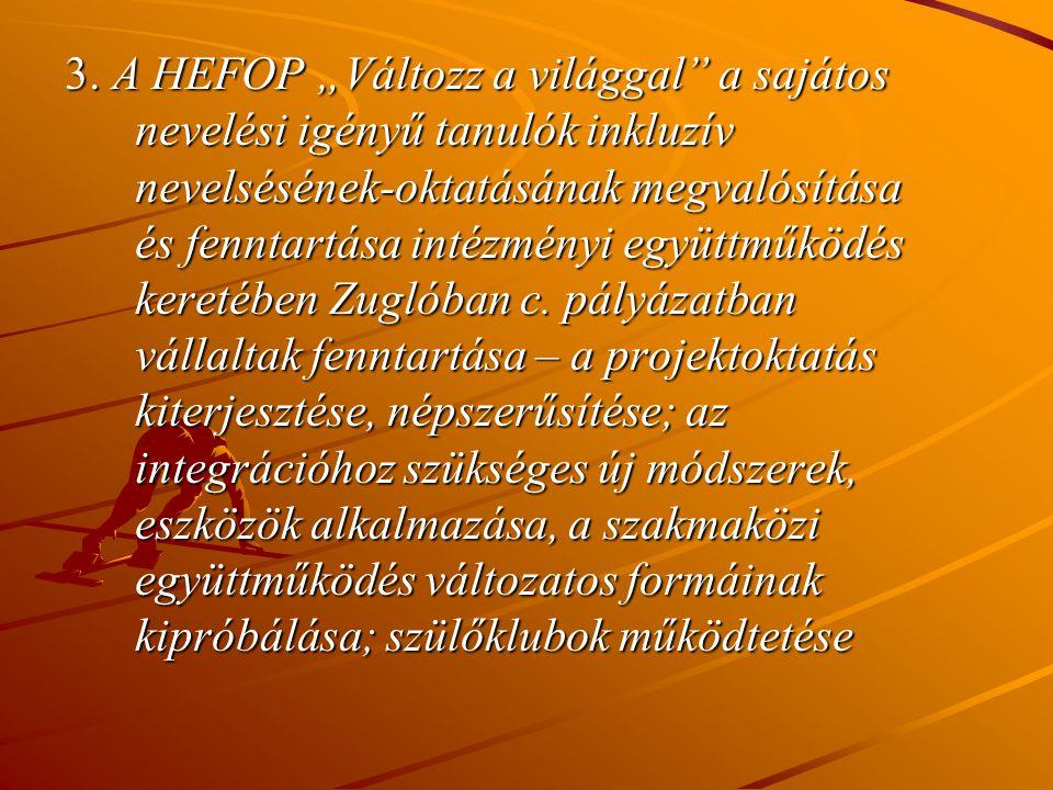 """3. A HEFOP """"Változz a világgal"""" a sajátos nevelési igényű tanulók inkluzív nevelsésének-oktatásának megvalósítása és fenntartása intézményi együttműkö"""