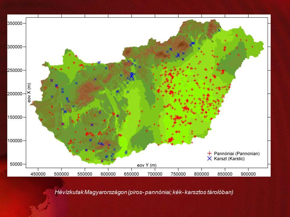 Hévízkutak Magyarországon (piros- pannóniai; kék- karsztos tárolóban)