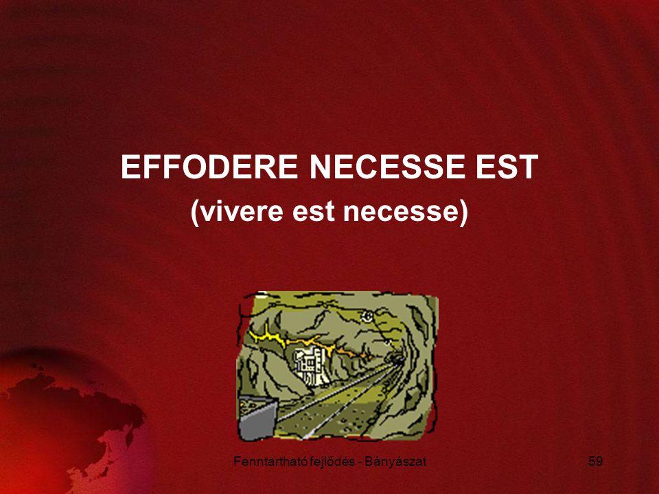Fenntartható fejlődés - Bányászat59 EFFODERE NECESSE EST (vivere est necesse)