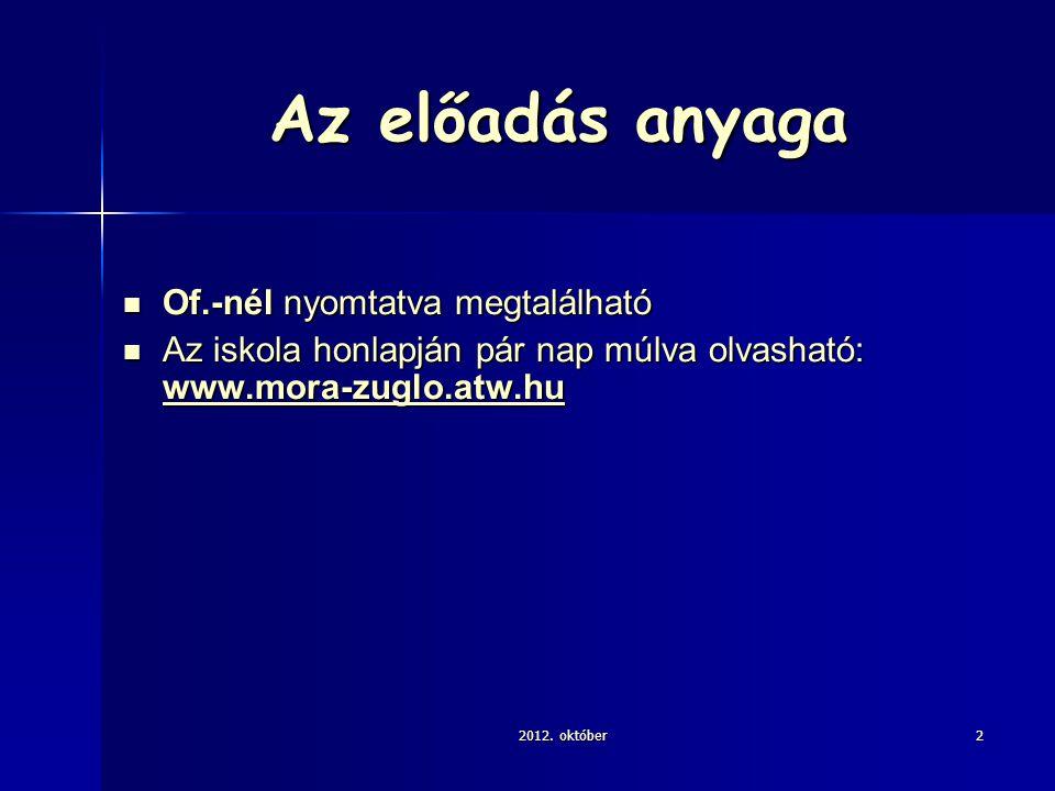 Az előadás anyaga Of.-nél nyomtatva megtalálható Of.-nél nyomtatva megtalálható Az iskola honlapján pár nap múlva olvasható: www.mora-zuglo.atw.hu Az iskola honlapján pár nap múlva olvasható: www.mora-zuglo.atw.hu www.mora-zuglo.atw.hu 2012.