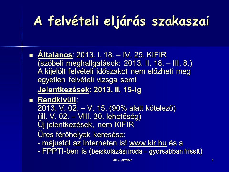 A felvételi eljárás szakaszai Általános: 2013. I.