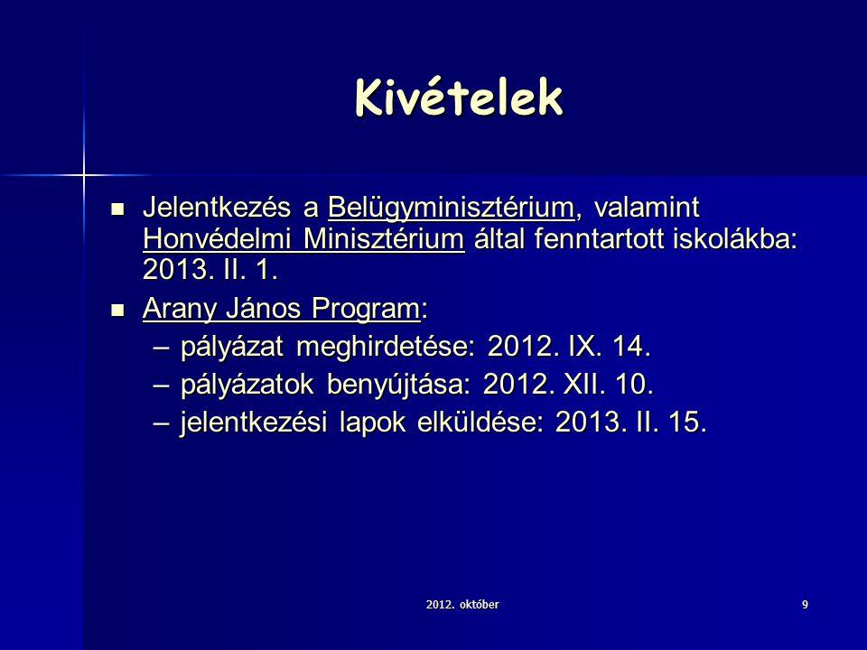 Kivételek Jelentkezés a Belügyminisztérium, valamint Honvédelmi Minisztérium által fenntartott iskolákba: 2013.