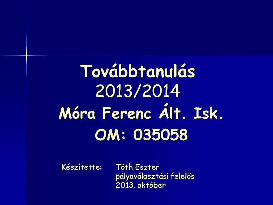 Továbbtanulás 2013/2014 Móra Ferenc Ált. Isk. OM: 035058 Készítette:Tóth Eszter pályaválasztási felelős 2013. október
