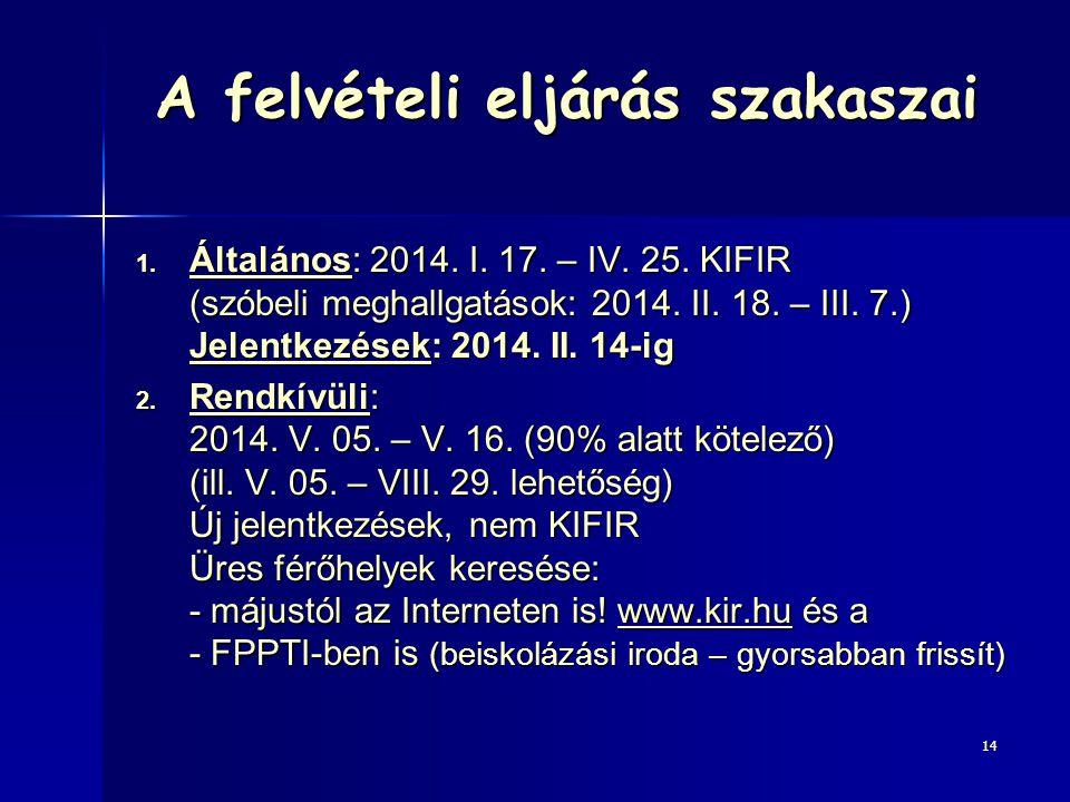 A felvételi eljárás szakaszai 1. Általános: 2014. I. 17. – IV. 25. KIFIR (szóbeli meghallgatások: 2014. II. 18. – III. 7.) Jelentkezések: 2014. II. 14