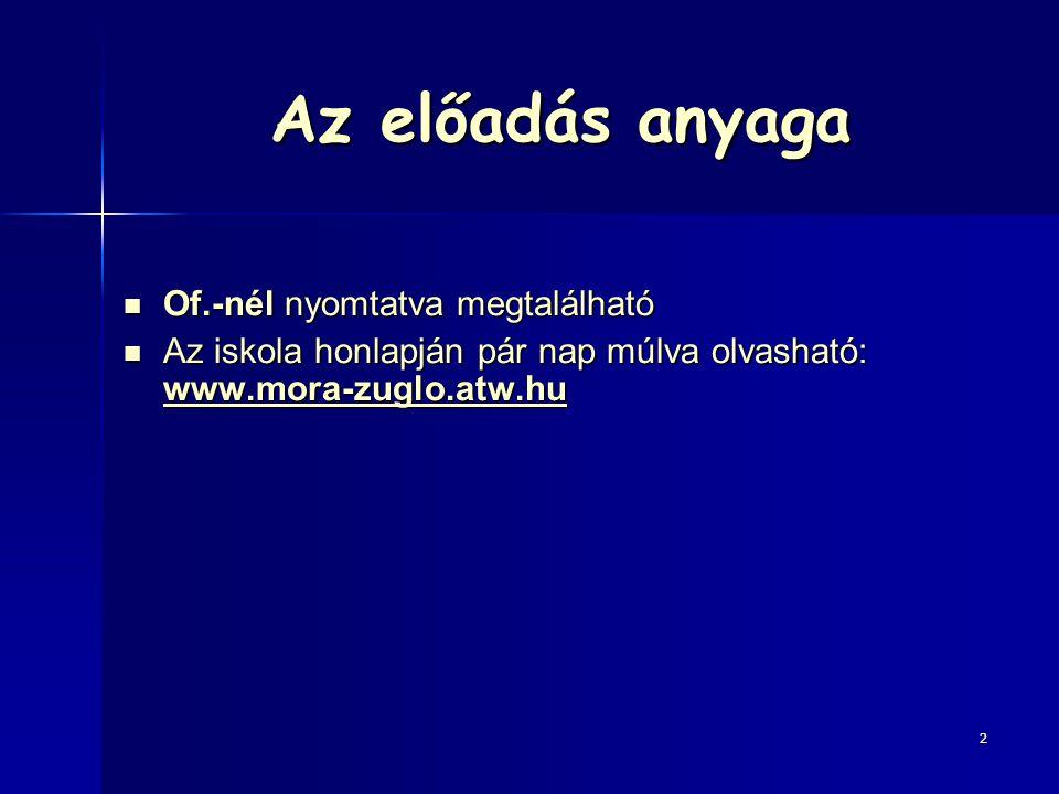 Az előadás anyaga Of.-nél nyomtatva megtalálható Of.-nél nyomtatva megtalálható Az iskola honlapján pár nap múlva olvasható: www.mora-zuglo.atw.hu Az