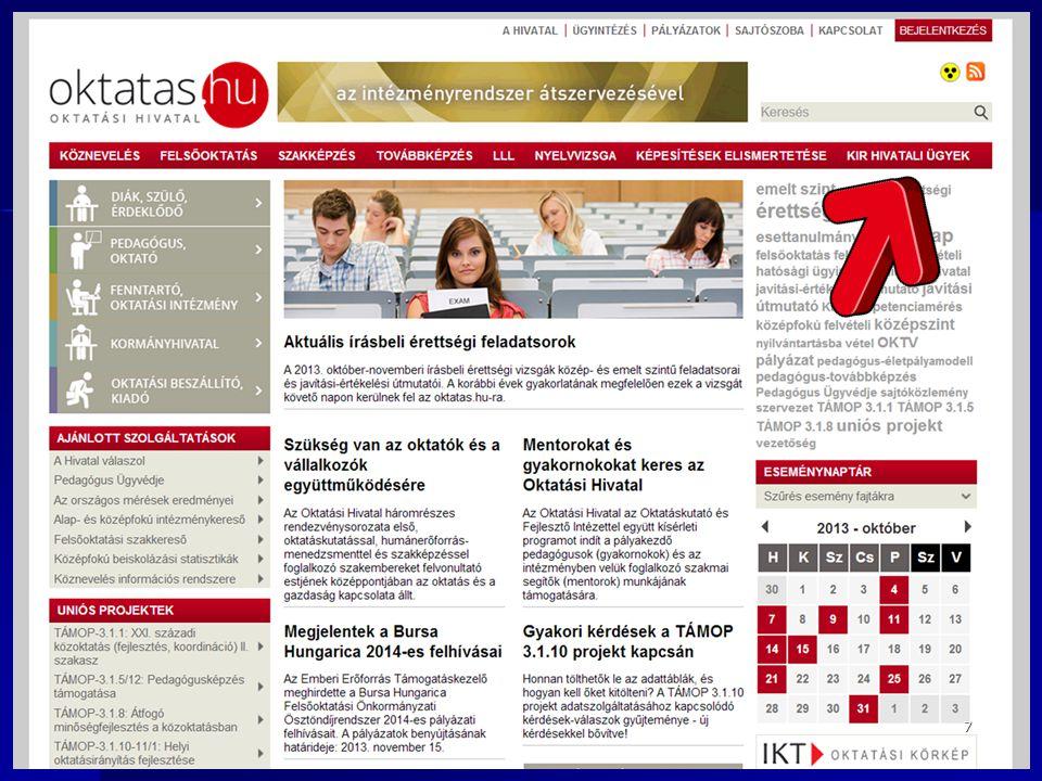 Kötelező felvételt biztosító iskolák Kötelező felvételt biztosító iskolák (tavalyi, az új 2014.
