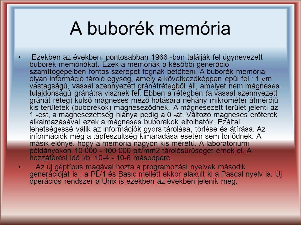 A buborék memória Ezekben az években, pontosabban 1966 -ban találják fel úgynevezett buborék memóriákat. Ezek a memóriák a későbbi generáció számítógé